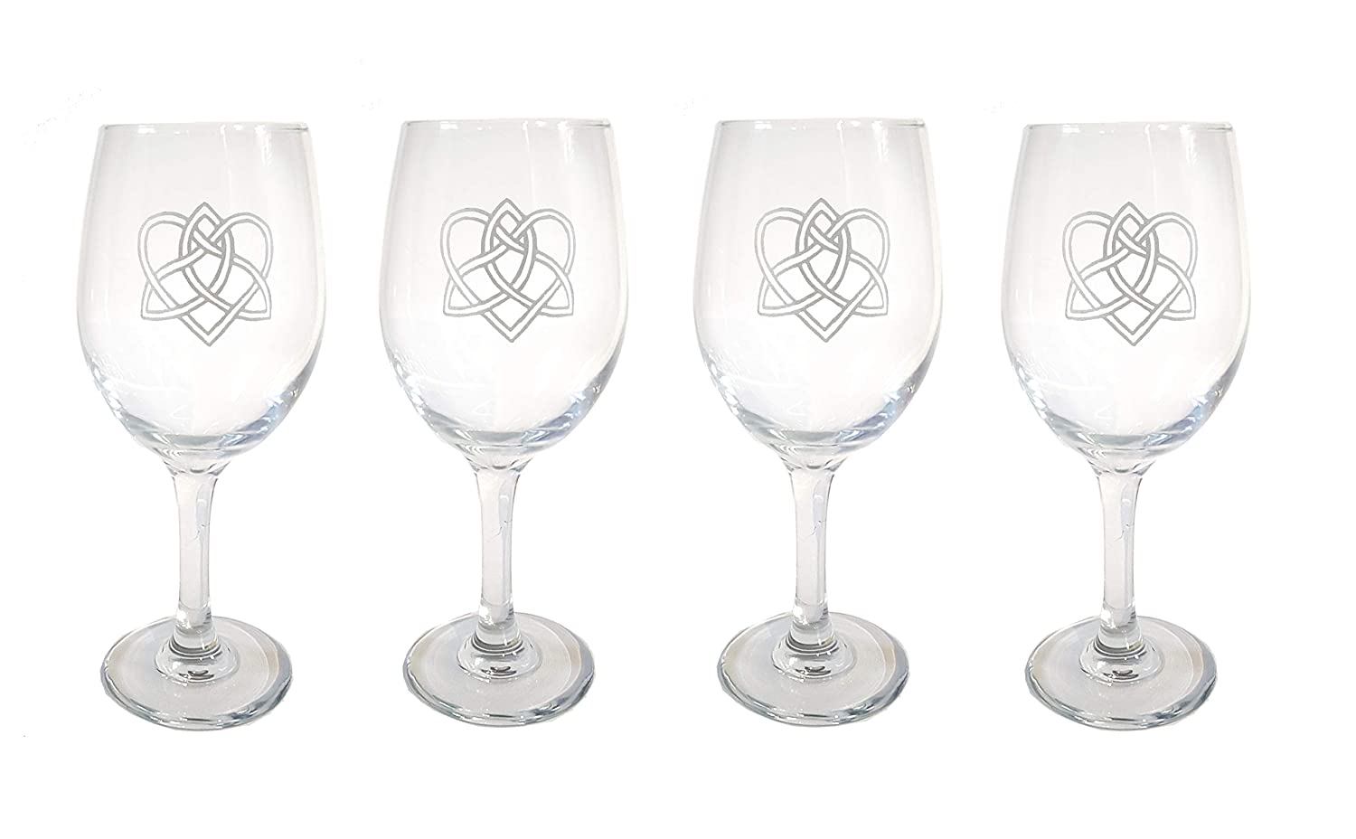 Celtic Love Knot Clear Wine Glass of Four shop Selling Personalize Free - Set