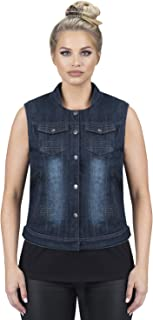 Viking Cycle Denim Motorcycle Vest for Women (Blue, Large)