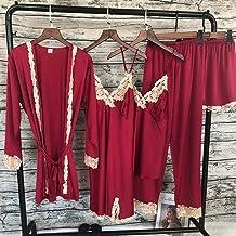 Dames Badjas Dames Nachtkleding Zijde Satijn Pyjama Nachtkleding Wit Kant Meisjes Nachtkleding Wijnrood Losse Gewaad Kamer...