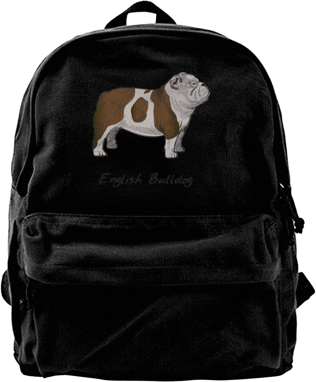 English Manufacturer regenerated product Bulldog Canvas Backpacks Bags Laptop High-Capacity Schoo Popular overseas