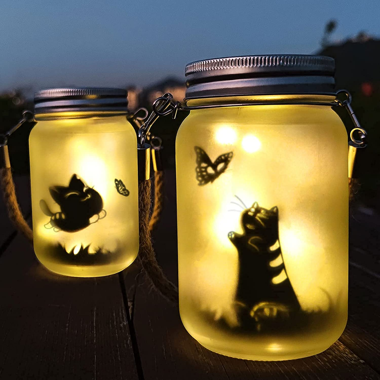 Alritz Memorial Cat Fairy Solar Mason Max 46% OFF Jar Outdoor 2 Translated Lights Pack