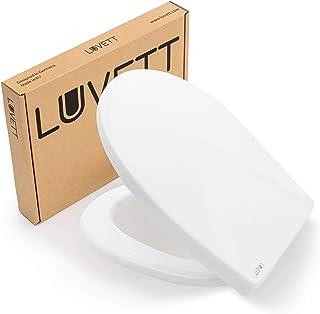 Tapa WC Universal LUVETT C100 ovalado con 3 tipos diferentes de bisagras de acero, caída amortiguada SoftClose y sistema d...