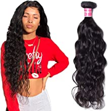 Jolia Hair One Bundle Deal Virgin Brazilian Natural Wave Hair Weave 100g/pc Unprocessed Brazilian Virgin Human Hair Weave Extensions, Natural Black Hair Color, Can be Dyed and Bleached (16 inch)