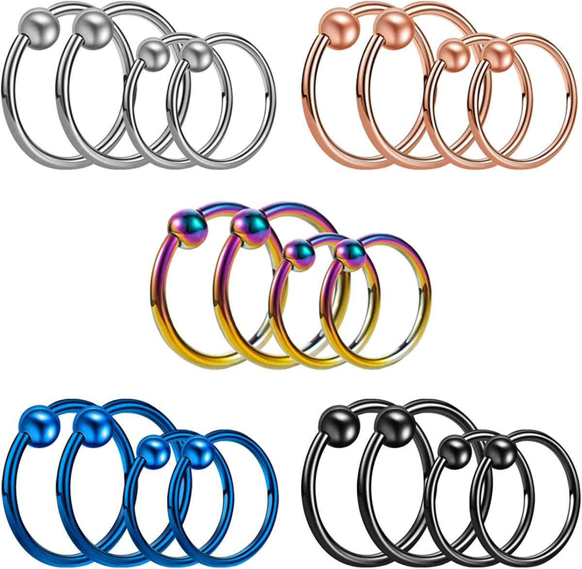 SEENI 20PCS 18G 16G Stainless Steel Nose Rings Hoop Cartilage Helix Ear Piercing Tragus Set Body Jewelry For Women