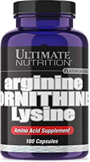 Ultimate Nutrition Max Strength Arginine Ornithine Lysine USP Verified Triple Amino Acid Supplement, 100 Capsules