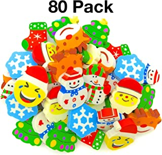 OHill 80 Pcs Christmas Erasers Holiday Erasers Novelty Erasers(8 Christmas Different Designs) for Christmas Party Favors, Stocking Stuffers, Kids Crafts, School Prizes and Goodies Bag Fillers