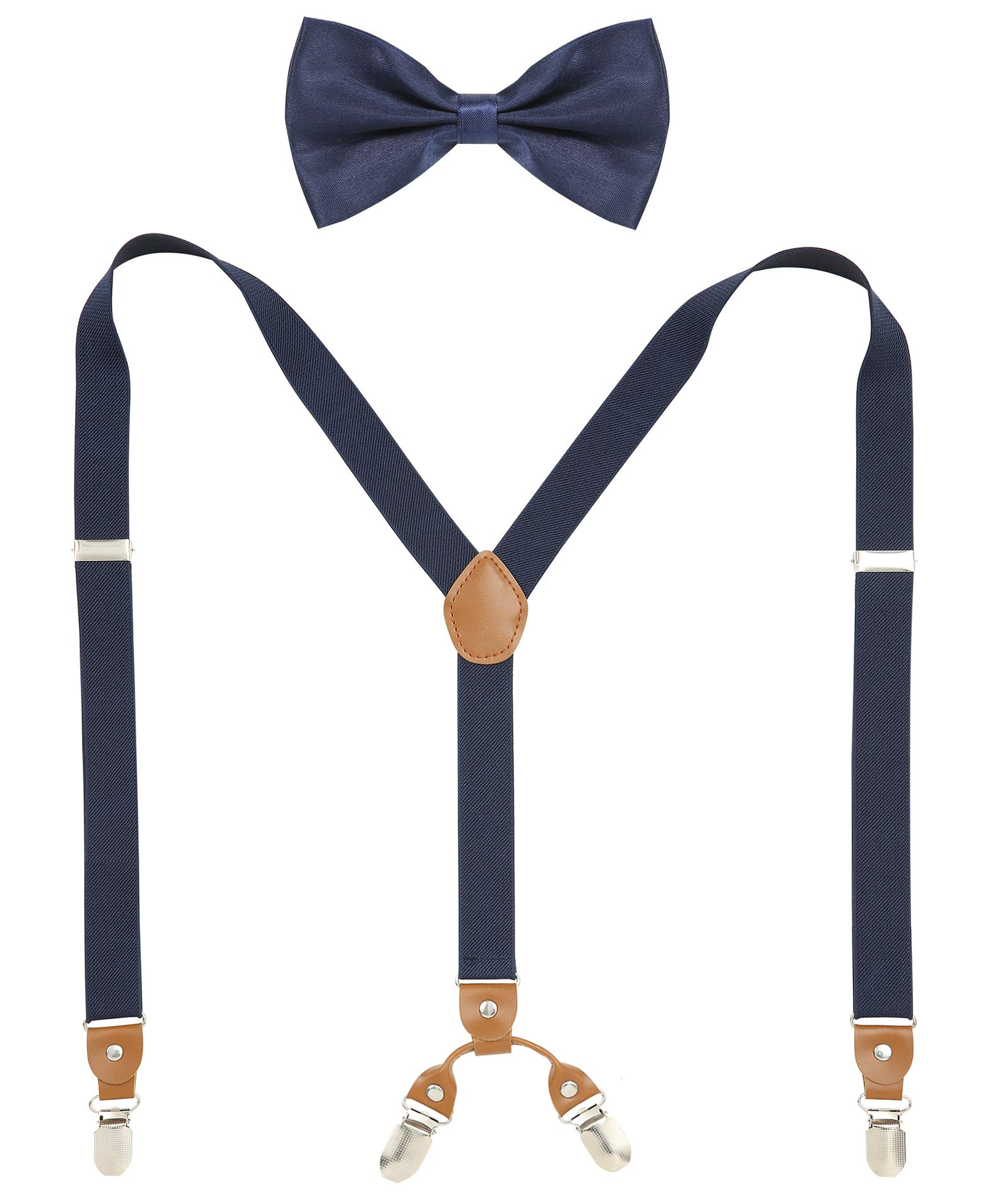 Jiaqee Suspenders Bowtie Set X-back Suspender For Men with Bow Tie Elastic 1 Wide Band