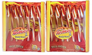 Red Hots Candy Canes 2.64 Oz Pack Of 2! 12 Christmas Candy Canes Cinnamon Flavors! Yellow, Orange and White Stripes Colorful Candy! Sweet and Tasty Christmas Candy! Choose Your Flavor! (Redhots)