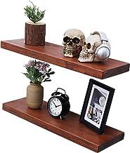 "WELLAND Allen 8"" Deep Floating Shelves Set of 2 Reclaimed Wood Wall Shelf Rustic Pine Wall Mount Shelf (Set of 2, 24 inch)"