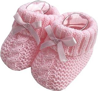 Baby Boys Niñas 1 par de botines de punto suaves recién nacidos de punto con lazo 116-354