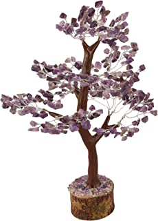 Crocon Natural Healing Gemstone Crystal Bonsai Fortune Money Tree for Good Luck, Wealth & Prosperity Spiritual Gift Size 10-12 Inch (Amethyst (Silver Wire))
