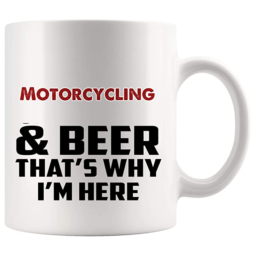 Beer And Motorcycling Mug Coffee Cup Tea Mugs Gift   That's Why I'm Here motor cycle motorcyclists motorsports bikers biker bicycling motorbike racing