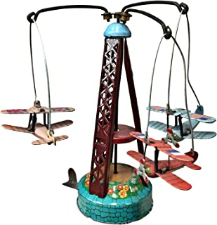 Classic Retro Vintage Clockwork Wind Up Rotating Airplane Carousel Metal Toy Collectors Item