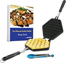 Bubble Waffle Maker Pan by StarBlue with FREE Recipe ebook and Tongs - Make Crispy Hong Kong Style Egg Waffle in 5 Minutes
