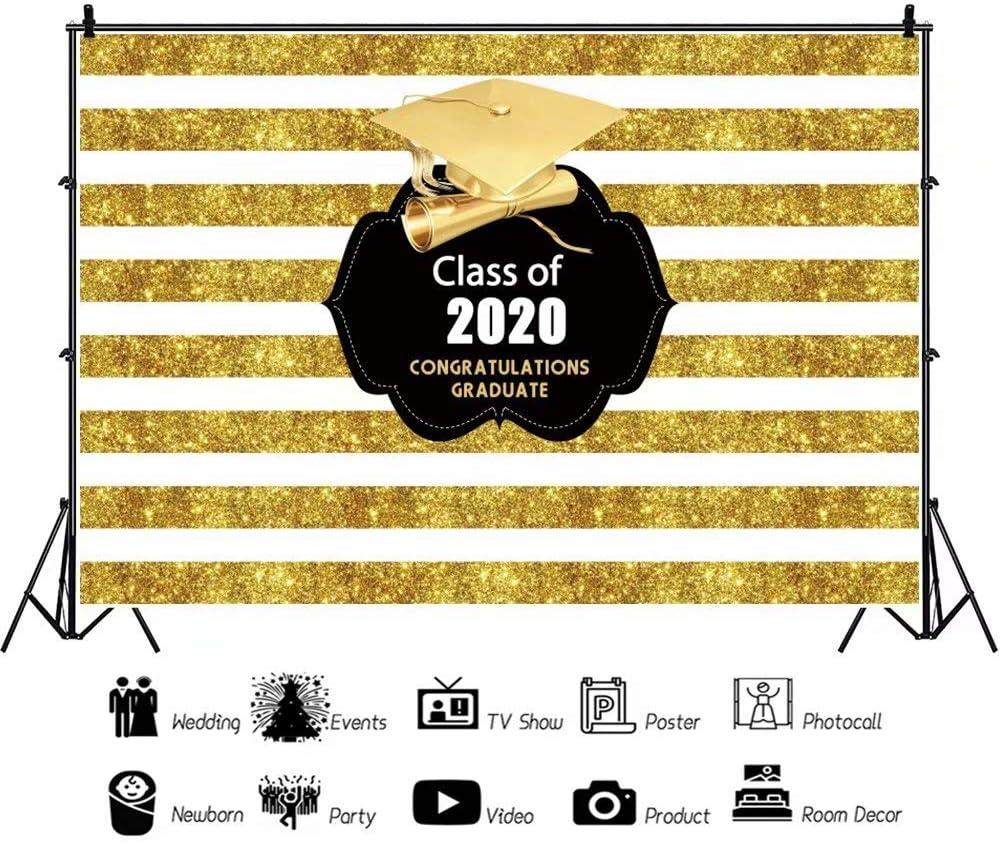 DaShan 14x10ft 2020 Graduation Party Backdrop Class of 2020 Golden Stripes Bachelor Cap Congrats Grad Prom Photography Background Colleage Grad Congratulation Cake Table Banner Photo Props