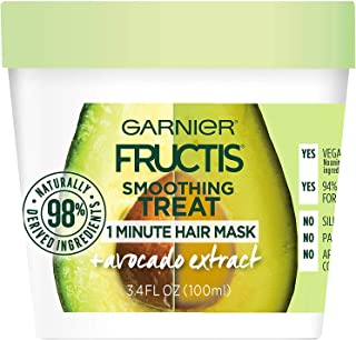 Garnier Fructis Smoothing 1 Minute Hair Mask, Avocado, 3.4 fl. oz. (Pack of 2)