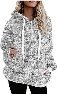 Womens Fleece Hooded Sweatshirts Long Sleeve Oversized Hoodies Zip Hood Sweater Fall Winter Blouse Pullover Coats with Pocket