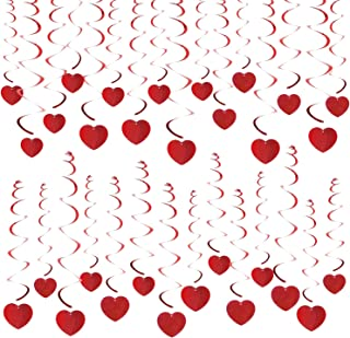 Valentine's Day Hanging Heart Swirls Decorations(30Count), Konsait Heart Swirls for Home Party Ceiling Window Wall Decor Great Anniversary Wedding Birthday Bridal Shower Bachelorette Party Supplies