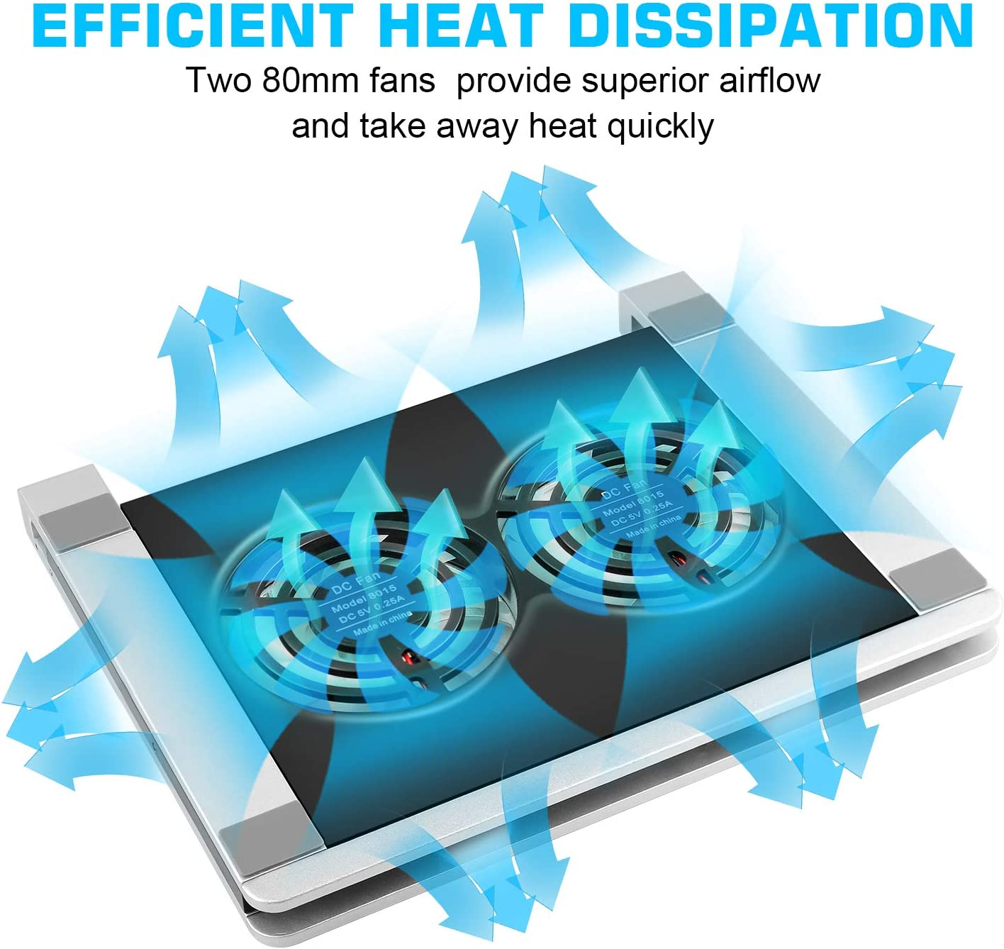 Portable Notebook Cooler for 12-17 Inch Gaming Laptop with 5 Adjustable Heights Silver 2 Quiet Fans Sinstar Laptop Cooling Pad Stand 1 USB and 1 Type C and Blue LED Light 2 Ports