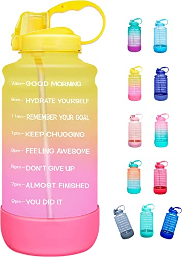 Elvira Half Gallon/64oz Motivational Time Marker Water Bottle with Straw & Protective Silicone Boot, BPA Free Anti-Sl...