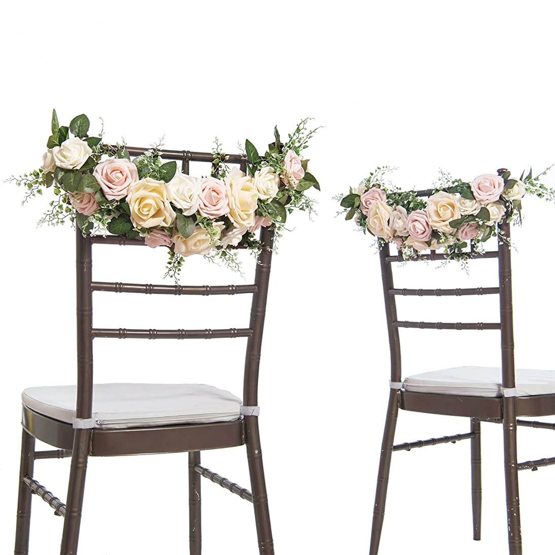 Ling's moment Chair Decor for Wedding Chair Banners for Wedding Chair Garland Real Looking Artificial Rose (Pack of 2)