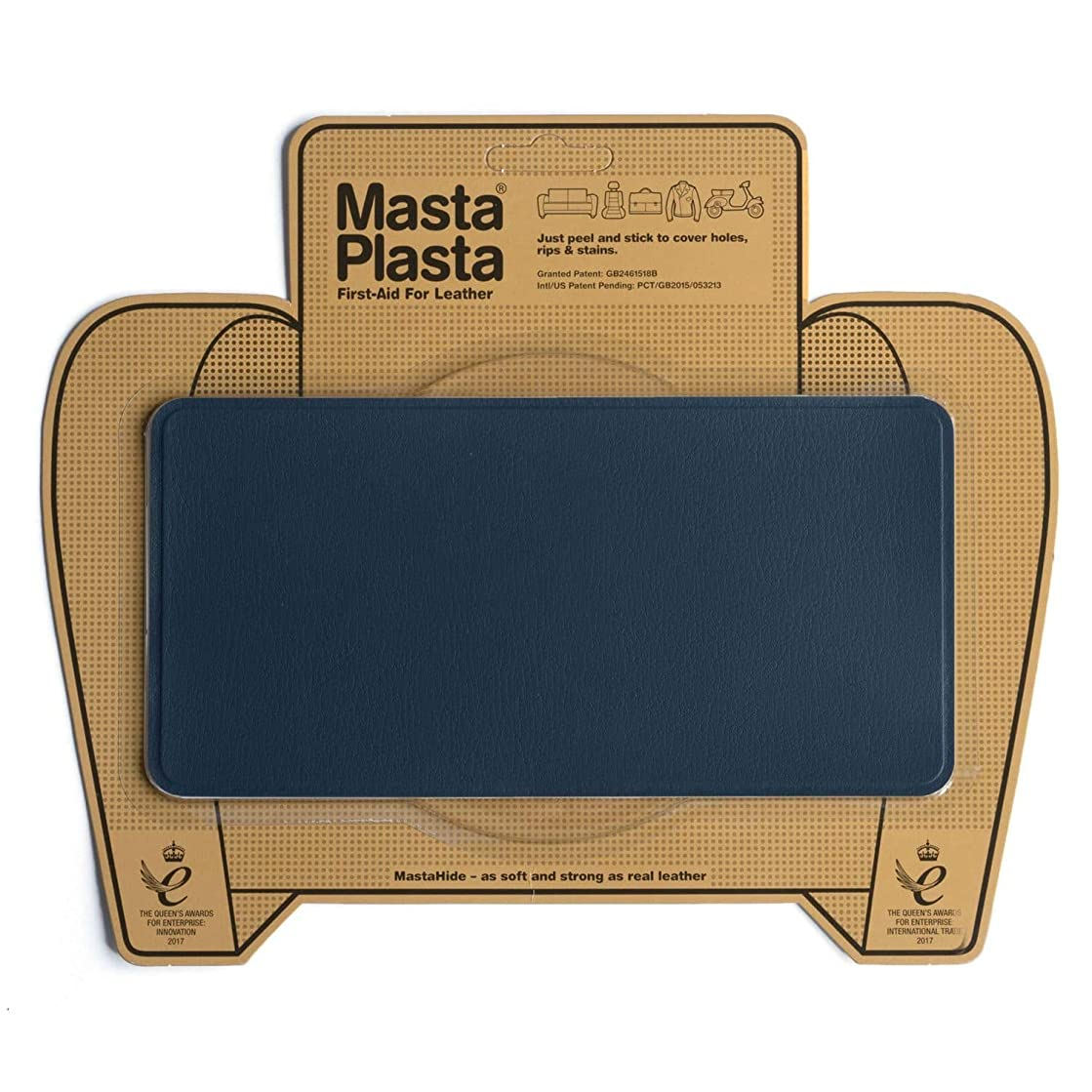 MastaPlasta Self-Adhesive Patch for Leather and Vinyl Repair, Large, Navy - 8 x 4 Inch - Multiple Colors Available