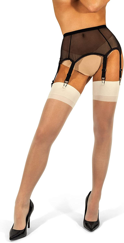sofsy Mesh Garter Belt with Straps for Thigh High Stockings/Lingerie Women (Garter Belt Sold Separately from Stockings)