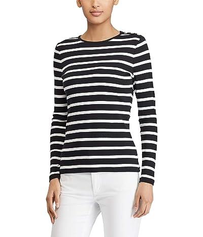 LAUREN Ralph Lauren Striped Button-Shoulder Top