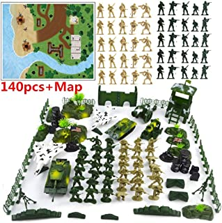 Army Men Action Figures Army Toys Tiny Troopers Big Battle Military Playset Over 140 Pieces Include Two Armies of Soldiers Figures,Tanks,Jets,Walls,Helicopters,Battle Playmat,Deluxe Plastic Toy Army