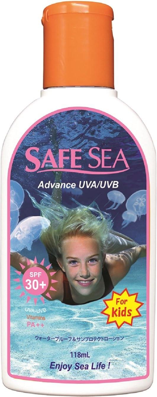 眠り倒産防腐剤SAFESEA 日焼け止め アドバンス キッズ ウォータープルーフ UVA UVB SPF30 118ml
