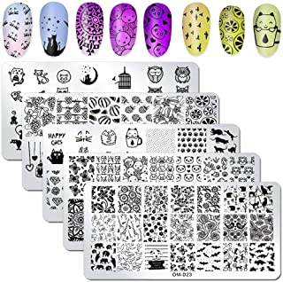 WOKOTO 5Pcs Nail Art Plates Stamping Set Fruit Animal Cat Panda Mandala Image Design Plates Stamping Nail Art Kit