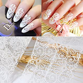 10Pcs Women Nail Art White Lace Nail Sticker Designs Girl Beauty Nail Tools Women Nail Art Lace Nail Sticker Designs Girl Beauty Nail Tools
