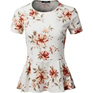 SSOULM Women's Classic Stretchy Short Sleeve Flare Peplum Blouse Top with Plus Size