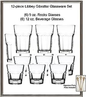 12-piece Libbey Gibraltar Glassware Set, Includes 9 oz. Rocks and 12 oz. Beverage Glasses w/Signature Party Picks