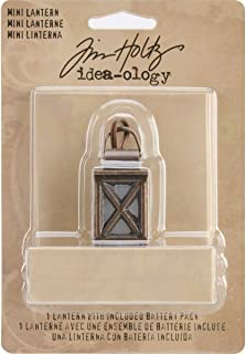 Battery Operated Metal Mini Lantern by Tim Holtz Idea-ology, 1-3/8 Inches Tall, Requires 2 AA Batteries, TH93033