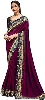 wine Plain body designer Border fancy Silk Saree Indian Woman Blouse party festival Sari 6563