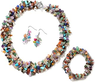 """Handmade Coastal Chip Beads Statement Bracelet Dangle Drop Earrings Toggle Clasp Necklace Jewelry set for Women 18""""(Strechable) (Pink/Garnet/Amazonite/Yellow Tiger Eye/multi/Coral/Amethyst/White)"""