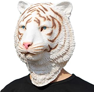 PartyHop - White Tiger Mask - Halloween Latex Forest Animal Head Mask