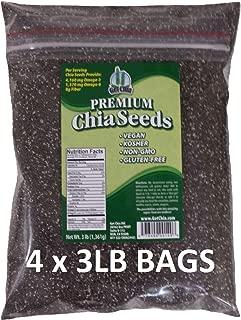 Get Chia Brand BLACK Chia Seeds - 12 TOTAL POUNDS = FOUR x 3 Pound Bags