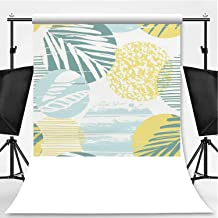 Seamless Exotic Pattern with Palm Leaves on Geometric Background Theme Backdrop Cartoon Backdrops Photography Backdrop,049525,10x20ft