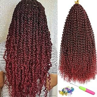 7 Packs Passion Twist Hair 18 Inch Water Wave Passion Twist Crochet Braiding Hair Synthetic Braids Goddess Locs Long Bohemian Locs Hair (22Strands/Pack, Tbug#)