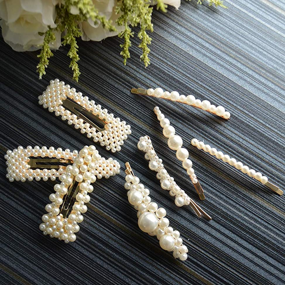 Onlyesh Pearl Hair Clip for Women Hair Pins for Girls Hair Decorative Silver Pearl Alligator Clips Gold Fashion Styles (8pcs) svurokpc123