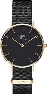 Classic Petite Stainless Steel Japanese-Quartz Watch with Nylon Strap, Black, 14 (Model: DW00100215)