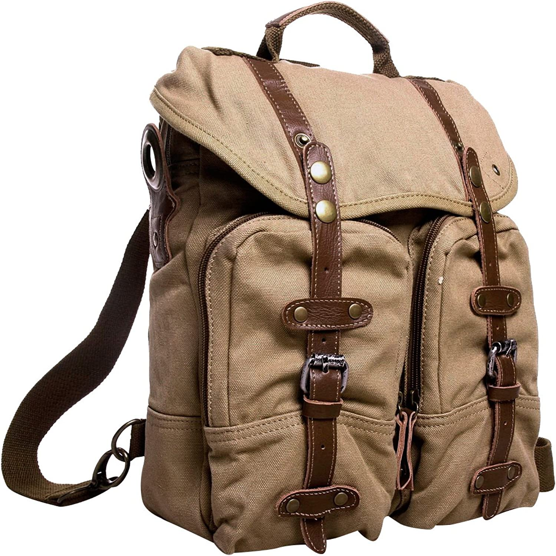 Vagarant Traveler 13  Tall Casual Backpack Messenger Bag C08. Khaki