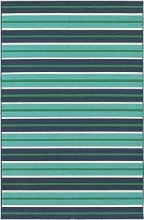 """Moretti Constant Area Rug 9652F Blue Rows Bars 7' 10"""" x 7' 10"""" Round"""