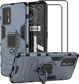 Realme GT 5G ケース [強化ガラスフィルム2枚付] カバー ハイブリッドケース 二重保護 ハードPC+ソフトTPU 車載マグネット対応 リング付き スタンド機能 耐衝撃 かっこいい Realme GT 5G用(ライトブルー)