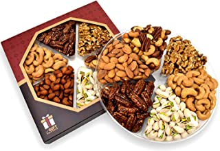 Holiday Gift Nut Tray Basket, Roasted Nut Variety Fresh Assortment Tray, Gourmet Food
