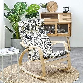 GAOZHEN - Silla mecedora de jardín interior, cojín con respaldo alto, cojín extraíble con respaldo alto, cojín de ocio, sin longitud de la silla, 135 x 56 cm