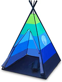 Best USA Toyz Happy Hut Teepee Tent for Kids - Indoor Pop Up Teepee Kids Playhouse Tent for Boys and Girls with Included Projector Toy and Portable Play Tent Storage Carry Bag (Blue) Review