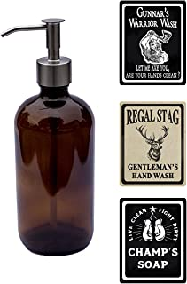 Milkweed Farms 16 oz Men's Glass Soap Dispenser with Waterproof Labels Brown TS101